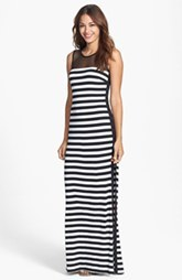 Laundry by Shelli Segal Stripe Mesh & Jersey Maxi Dress