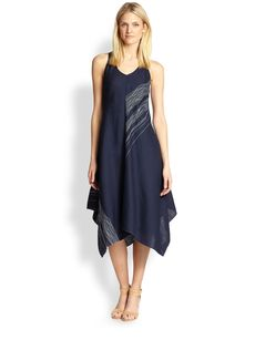 Eileen Fisher Linen Embroidered Asymmetrical Dress