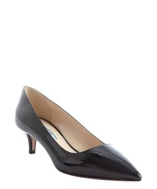 Prada black patent leather kitten heel pumps
