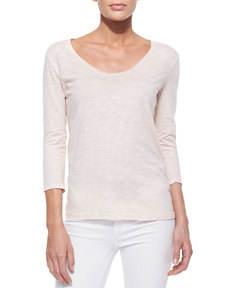 Three Dots V-Neck 3/4-Sleeve Tee