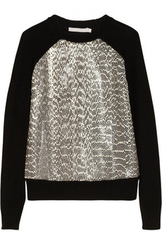 Jason Wu Elaphe-paneled wool sweater