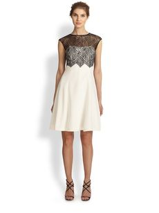 Kay Unger Silk & Lace Dress