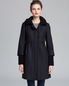 DKNY Coat - Hooded Knit Collar Empire Waist