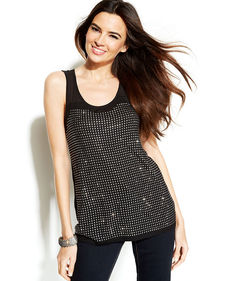 INC International Concepts Sleeveless Illusion Studded Top