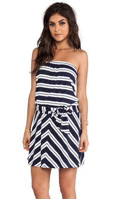 Michael Stars Suzette Strapless Tie Waist Dress in Navy