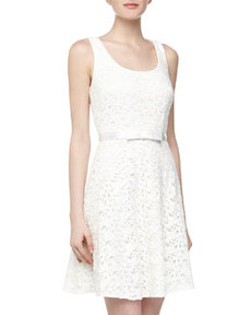 Laundry by Shelli Segal Cutout Filigree Lace Tank Dress, Pearl