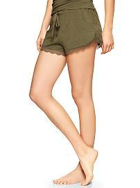 Lace-trim modal shorts