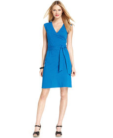 Jones New York Sleeveless Polka-Dot Faux-Wrap Belted Dress