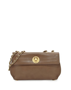 Moschino Borsa Faux-Leather Crossbody Bag, Taupe