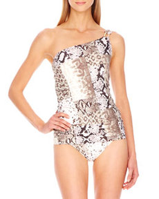Snake-Print One-Shoulder Swimdress   Snake-Print One-Shoulder Swimdress