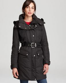 Andrew Marc Long Down Jacket with Detachable Hood & Quilting Detail