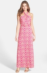Laundry by Shelli Segal Print Jersey Halter Maxi Dress