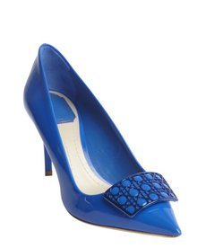 Christian Dior blue leather cannge detail pointed toe pumps
