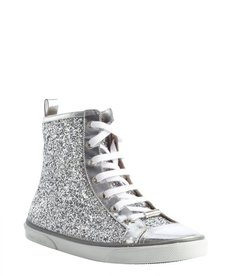 Jimmy Choo silver glitter leather side zip high tops