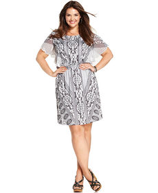 Style&co. Plus Size Flutter-Sleeve Printed Smocked Dress