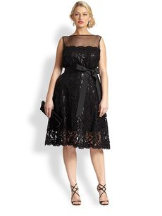 Tadashi Shoji, Sizes 14-24 Sequin Lace Illusion Cocktail Dress