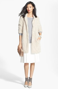 Kenneth Cole New York Faux Fur Jacket, Halogen® Cashmere Sweater & Chelsea28 Flare Skirt
