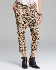 Free People Pants - Cheetah Twisted Harem