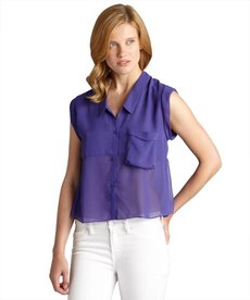 DV by Dolce Vita purple chiffon 'Carlie' sleeveless button front blouse