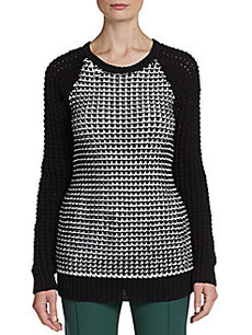 Jason Wu Chunky-Knit Check Sweater