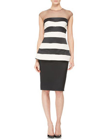 Striped Illusion-Neck Peplum Dress   Striped Illusion-Neck Peplum Dress