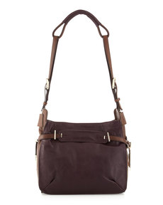 Kooba Flynn Two-Tone Shoulder Bag, Plum