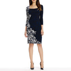 Black and Ivory Floral Sheath Dress