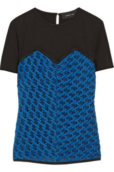 Derek Lam Ponte and embroidered cotton-lace top