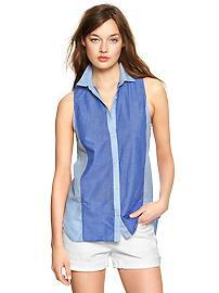 Colorblock stripe sleeveless shirt