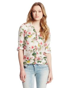 Joie Women's Divitri Ggt Cabbage Rose V-Neck Long-Sleeve Blouse