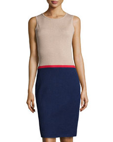 St. John Sleeveless Colorblock Sheath Dress, Bisque/Ink/Ruby