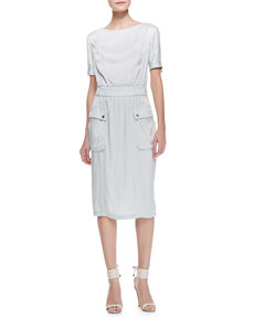 Jason Wu Short-Sleeve Satin Cargo Dress, Pale Sage