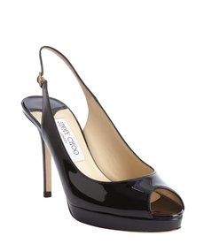 Jimmy Choo black patent leather peep toe 'Nova' slingback pumps