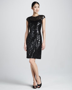 Kay Unger New York Sequined Animal-Print Cocktail Dress