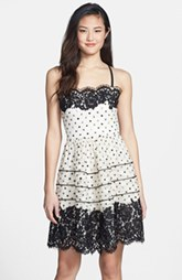 Betsey Johnson Dot Print Lace Fit & Flare Dress