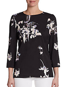 French Connection Water Flower Three-Quarter Sleeve Blouse