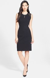 Classiques Entier® Geo Eyelet & Leather Trim Ponte Sheath Dress