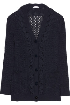 Oscar de la Renta Pointelle-knit cashmere and silk-blend cardigan