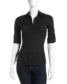 James Perse Button-Flap Pocket Button-Down Blouse
