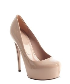 Gucci cream leather platform pumps