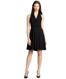 Andrew Marc black jersey v-neck halter hi-low dress