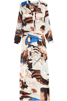 T-Bags Printed satin maxi dress