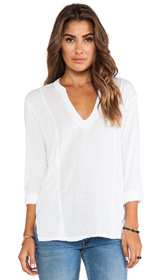 Michael Stars Long Sleeve Split Neck with Voile Mix in White