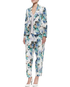 Rebecca Taylor Floral-Print Double-Breasted Jacket