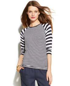MICHAEL Michael Kors Three-Quarter-Sleeve Striped Top