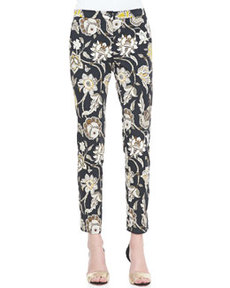 Floral-Print Front-Closure Pants, Black/Multi   Floral-Print Front-Closure Pants, Black/Multi