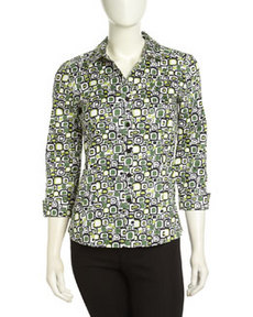 Lafayette 148 New York Printed Button-front Top, Black Multi