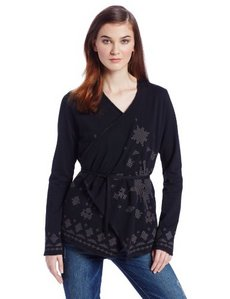Lucky Brand Women's Embroidered Wrap Cardigan