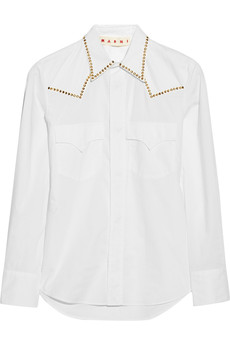 Marni Studded cotton-poplin shirt