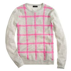Collection featherweight cashmere long-sleeve tee in grid